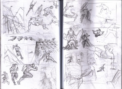 Click to enlarge: This is the thumbnail development from my skethcbook for this week's IF post, FLYING.