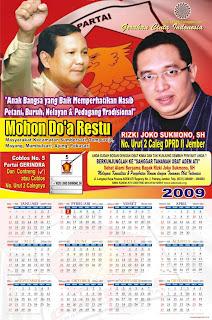 Paket Desain Kalender 2009 untuk Caleg DPRD I, II