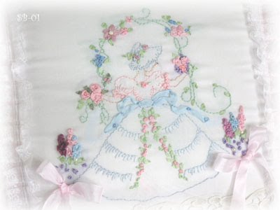 Say It With Roses Southern Belle Ribbon Embroidery Pillow