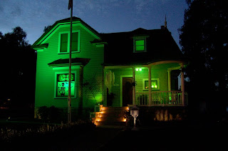 green haunted house wallpaper