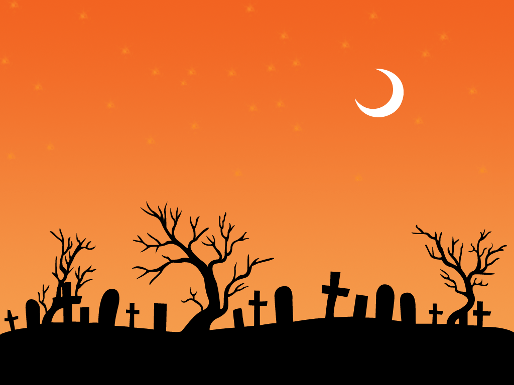 halloween-orange-moon-cemetry-wallpaper