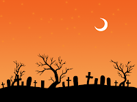 halloween orange moon cemetry wallpaper