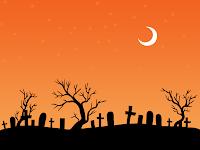 halloween orange moon cemetry wallpaper