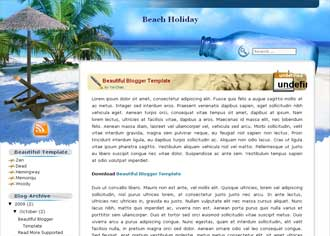 Beach Holiday Blogger Template