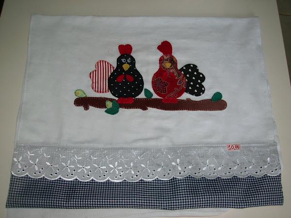 Guardanapa de patchwork galinhas