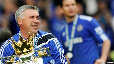 ancelotti with the premier league trophy