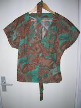 Wrap print blouse