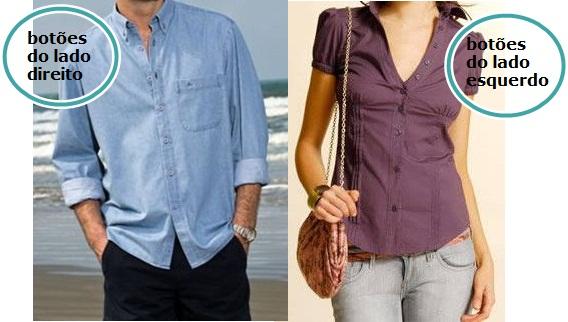 Você sabia que botões de camisas masculinas e femininas são em lados diferentes?