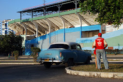 Vintage Chevy outside Estadio Latin Americano
