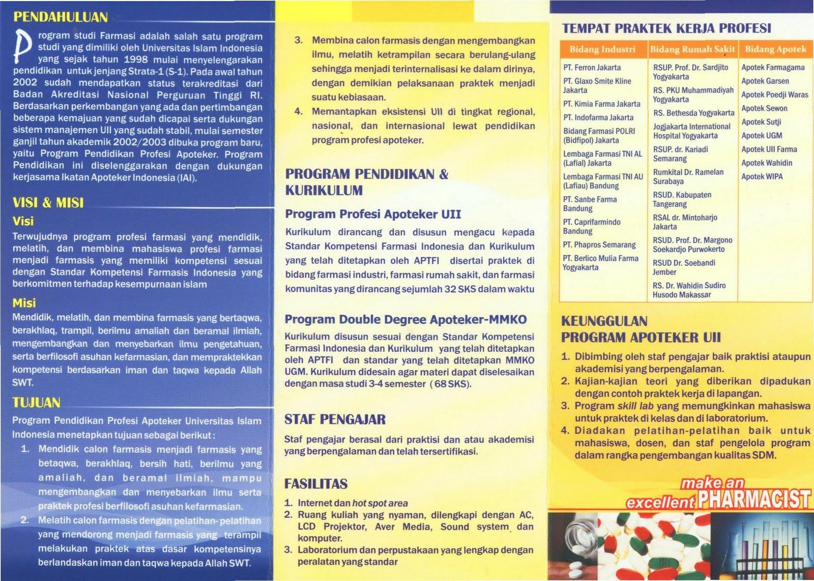 Brosur penerimaan mahasiswa baru program profesi apoteker uii