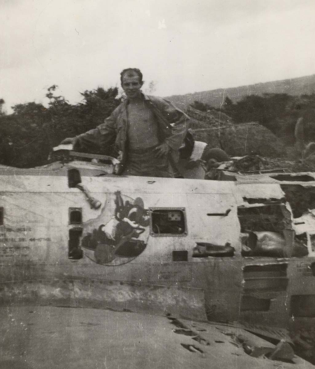 World War II 2 vetern Andrew Selep in damaged plane Okinawa 1945