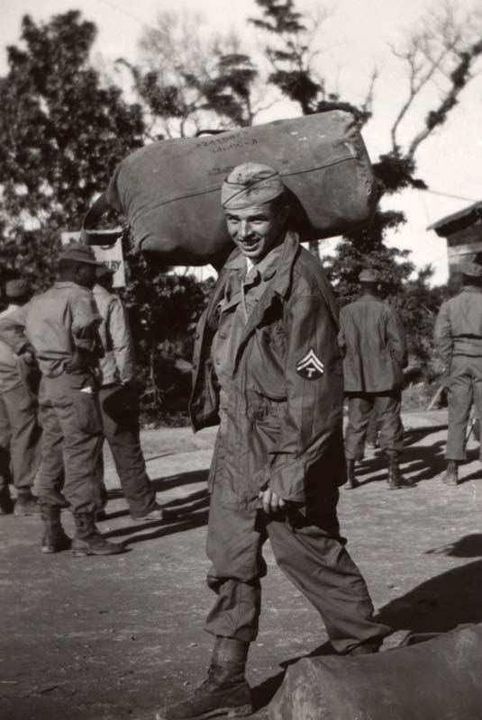 World War II 2 soldier leaving Okinawa 1945