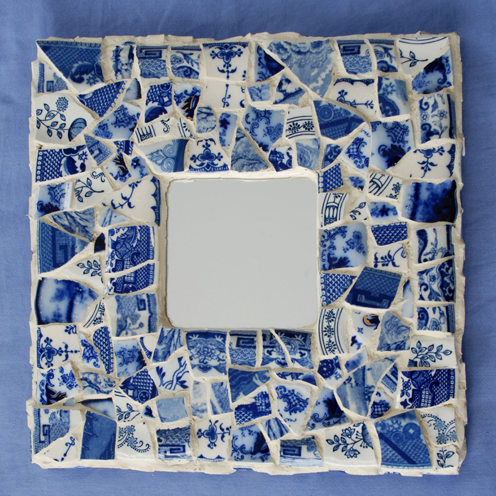 flow blue mosaic mirror