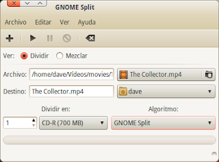 Gnome Split - Dividiendo ficheros en Gnome