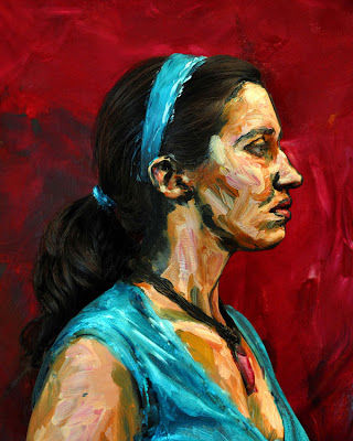 Alexa Meade paints portrait in acrylic directly on the model