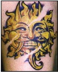 sun and stars tattoos design
