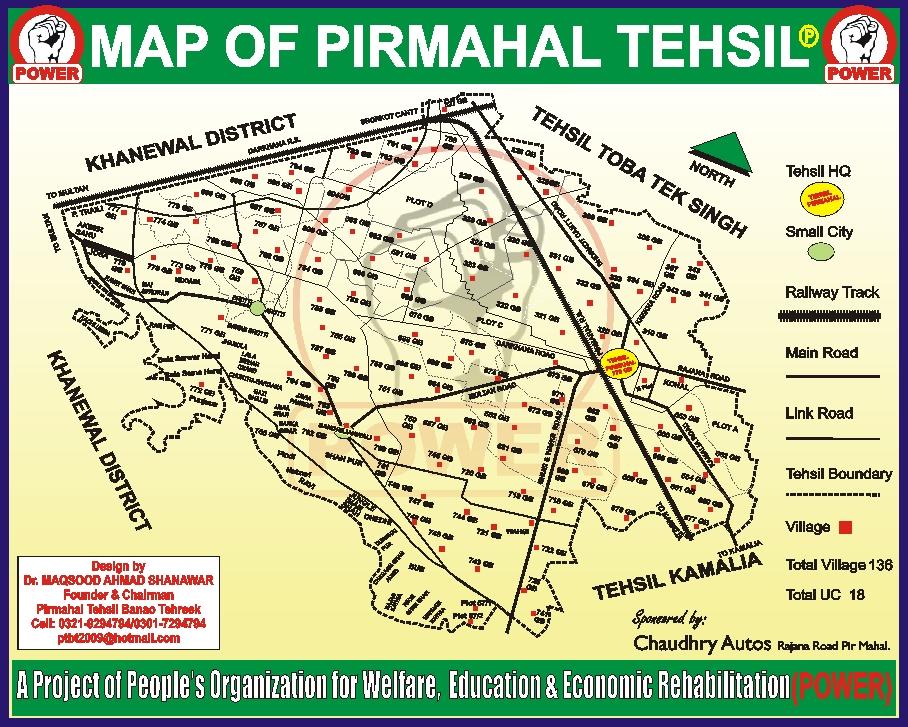 Pirmahal Tehsil Banao Tehreek Map Of Pir Mahal Tehsil P - Pir mahal map