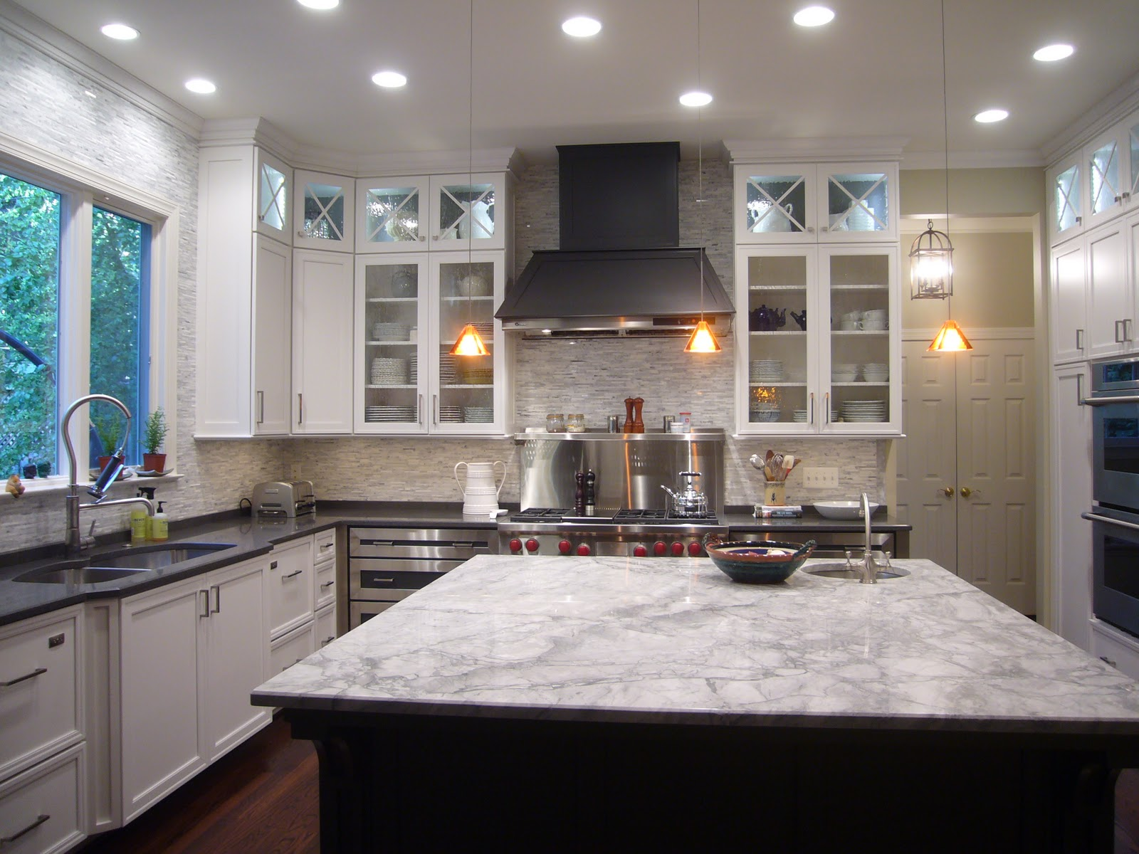 engineered quartz surfacing for the perimeter cabinetry counter tops
