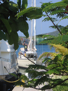 Capt. John on Quetzal at the dock of the Barefoot Cay Marina