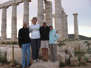 Harry, Kevin, me and Nan at the Temple of Poseidon on Cape Sounion