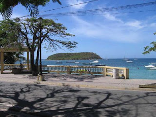 The embarcadero in Esperanza on Vieques, with Quetzal anchored in the distance