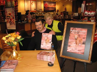 Nan and Scout with me at the Borders book signing for Raising Charlie