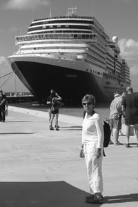 Nan with Holland America's Eurodam in Grand Turk, Turks and Caicos