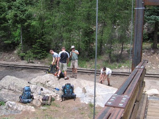 Getting ready to hit the trail to Chicago Basin at the Needleton trailhead's footbridge