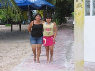 Paula and Paulina at Playa Tiburon on Isla Mujeres