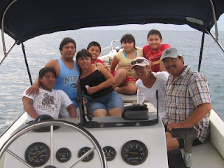 Group shot on the boat ride home from Playa Tiburon, with Manolo, Juan, Paula, Paul, Paulina, Nan, Daniel and me