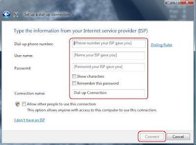 type the information from your Internet service provider (ISP)