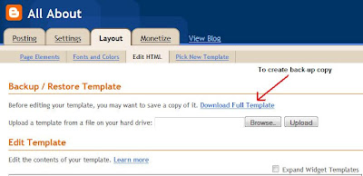 create back-up copy of blog template