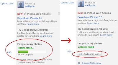 how to add name tags in Picasa Web Albums