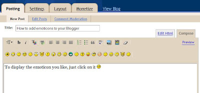 How to add emoticons to Blogger