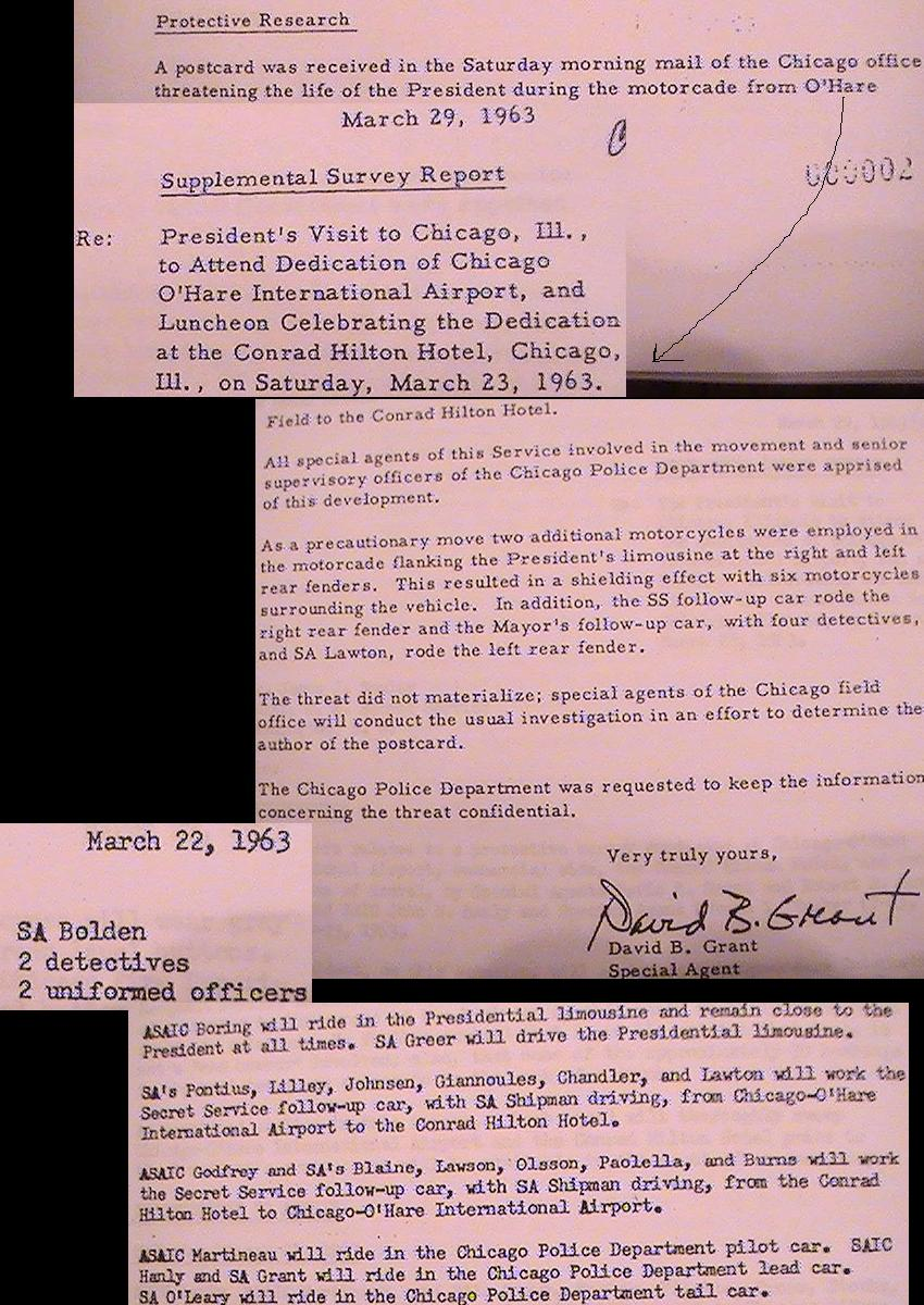 Chicago 3/23/63: agents on car, motorcycles, threats; BOLDEN/ BLAINE, etc.