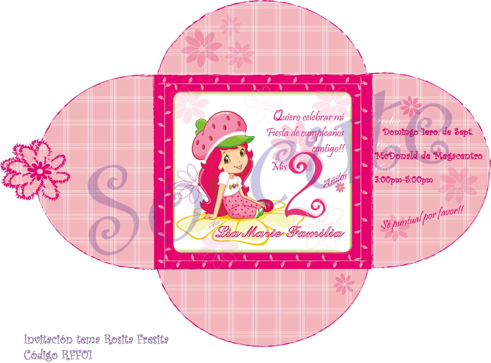 ... Cute•?• tarjetería personalizada: Invitación Rosita Fresita