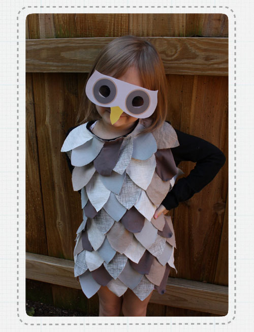 My owl barn diy owl costume ellen luckett baker of alpha mom created this super easy owl costume using old t shirt scarps and glue its a perfect last minute costume which doesnt solutioingenieria Images