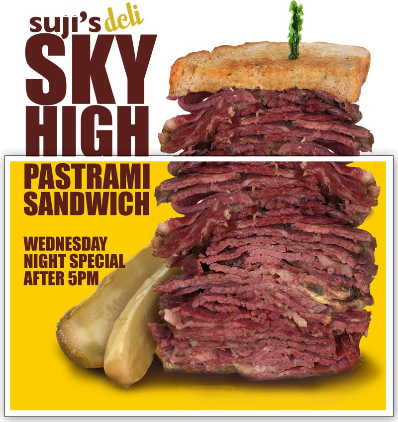Almost a Pound of Meat: Sky High Pastrami Sandwiches at Suji's on ...