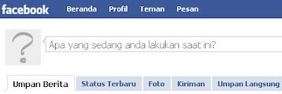 Gambar Facebook dalam bahasa Indonesia.