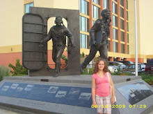 Skylar in front of VA military monument