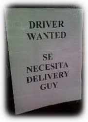 Se necesita conductor / se necesita repartidor