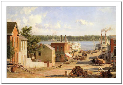 Hannibal, a view from Twain's boyhood home in 1841 by John Stobart