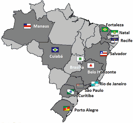World Cup Host Cities. All the stadiums are required to hold at least 40000
