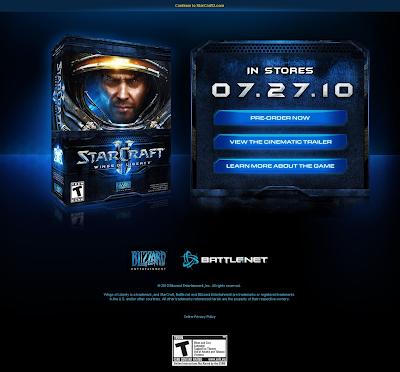 StarCraft II release splash page