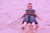 Making sand angels...
