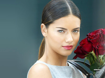 Adriana Lima with flower model wallpaper.