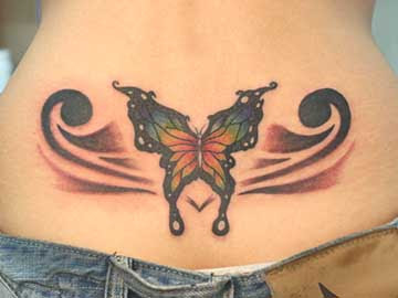 Butterfly Lower Back Tattoos For Women Picture 1