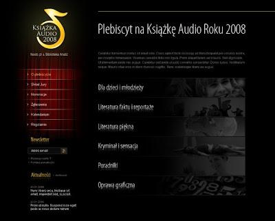 strona internetowa Ogólnopolskiego Konkursu na Książkę Audio Roku 2008