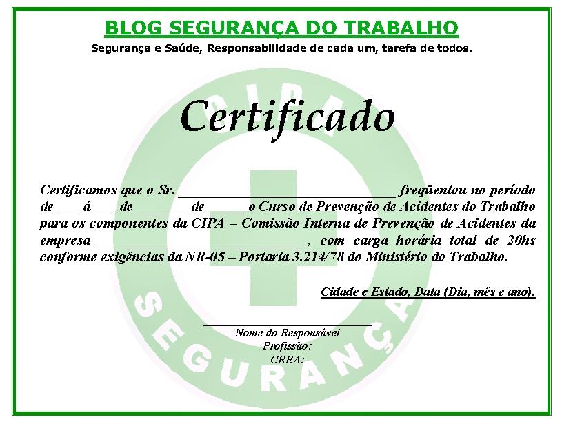 Certificado CIPA Modelo Certificado Da CIPA