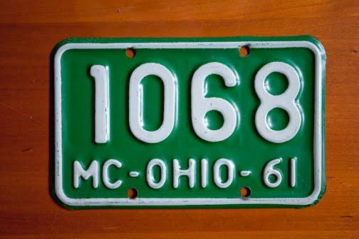 Vespa gs 150 restoration vintage ohio license plate for Ohio fishing license price